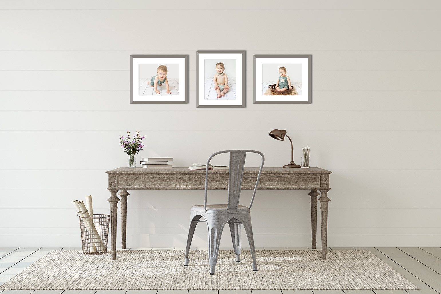 three framed prints of a baby