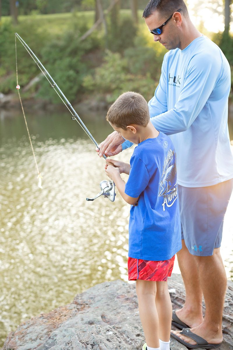 dad fishing with son